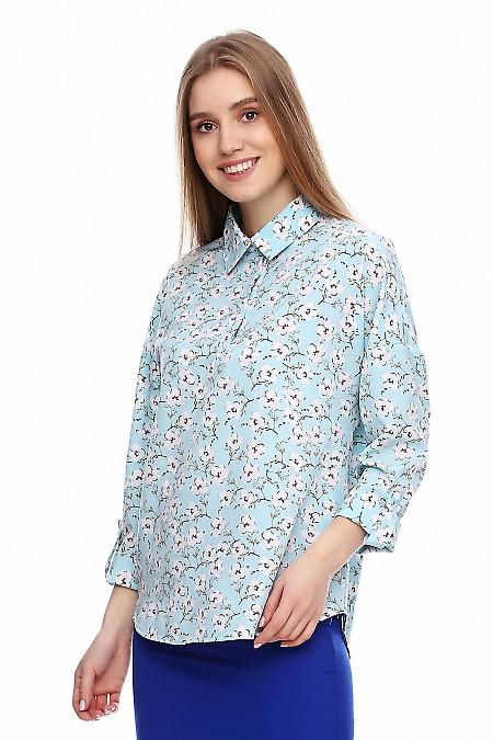 Купить просторную бирюзовую блузку. Деловая женская одежда фото