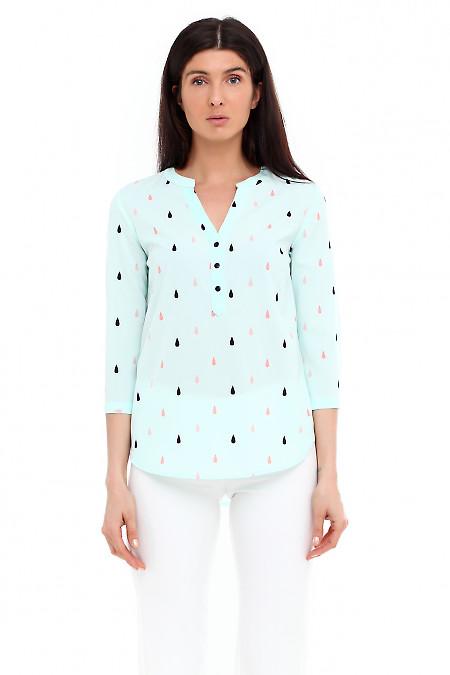 Блузка бирюзовая в капельки. Деловая женская одежда фото
