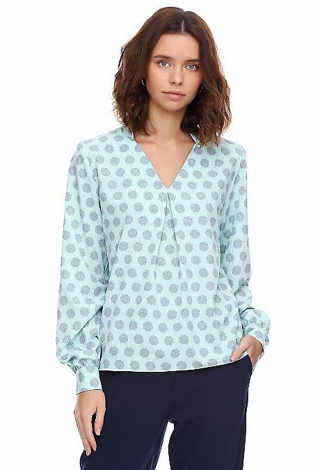 Блузка бирюзовая в крупные синие цветы. Деловая женская одежда