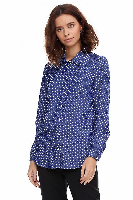 Купить блузку джинсовую в горошек. Деловая женская одежда фото