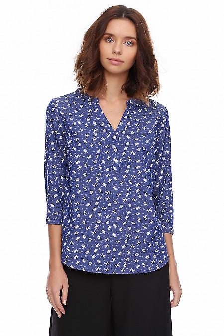 Блузка голубая из тонкого джинса. Деловая женская одежда фото
