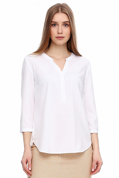 Блузка молочная с кокеткой на спине Деловая женская одежда фото