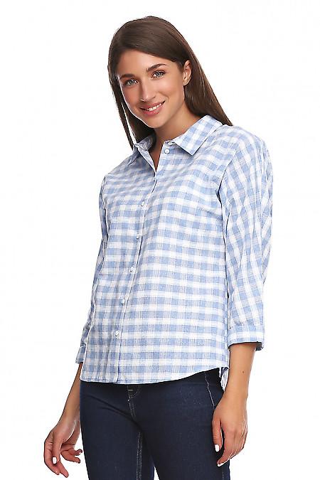 Блузка просторная в голубую клетку. Деловая женская одежда фото