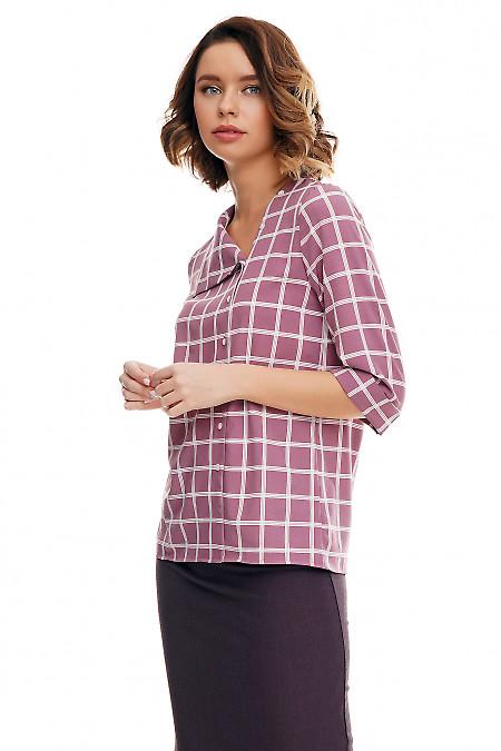 Купить блузку розовую с косым воротником в клетку Деловая женская одежда фото