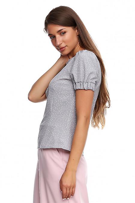 Купить блузку серую в розовый горох. Деловая женская одежда фото