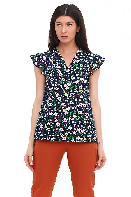 Блузка синяя с мысиком Деловая женская одежда фото