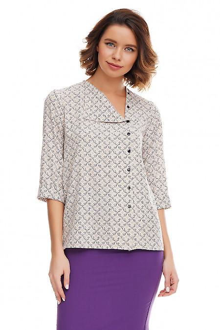 Блузка в серо-бежевый узор Деловая женская одежда фото