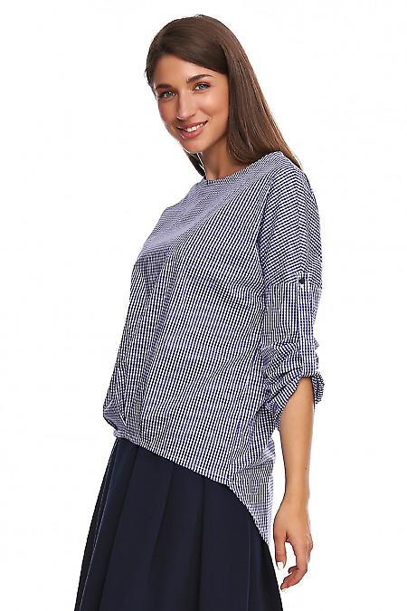 Купить блузку в синюю клетку с удлиненной спинкой. Деловая женская одежда фото