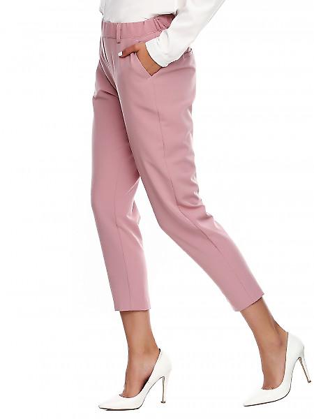 Купить розовые брюки на резинке. Деловая женская одежда фото