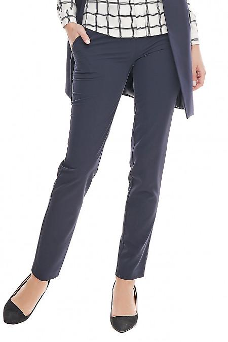 Брюки синие классические с широким поясом. Деловая женская одежда