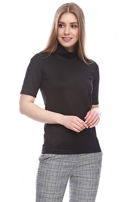 Купить гольф с коротким рукавом блестящий черный Деловая женская одежда фото