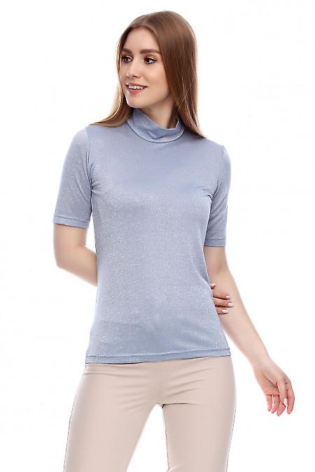 Купить гольф с коротким рукавом блестящий серый Деловая женская одежда фото