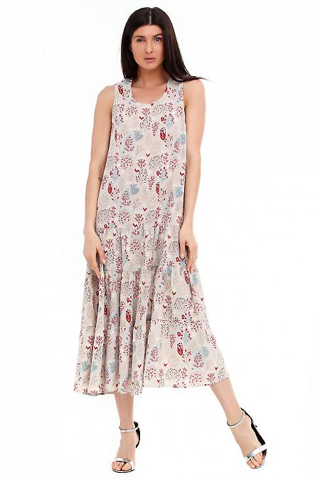 Купить летний серый сарафан в цветы. Деловая женская одежда фото