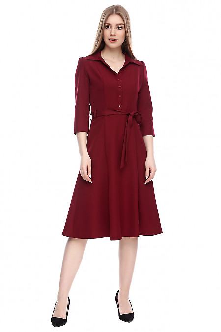 Платье бордовое под пояс Деловая женская одежда фото