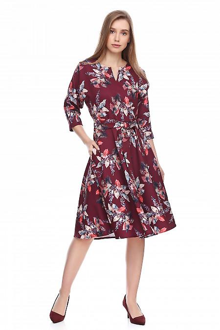 Платье бордовое в листья. Деловая женская одежда фото
