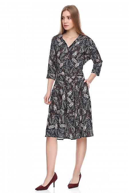 Купить платье чёрное в пальмовые листья. Деловая женская одежда фото