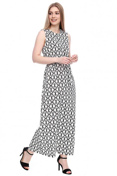 Платье длинное в ромбы Деловая женская одежда фото