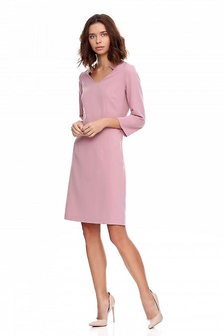 Купить платье розовое со стойкой и рукавом. Деловая женская одежда фото