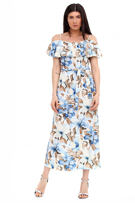 Платье с воланом в крупный цветок Деловая женская одежда фото