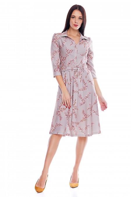 Платье серое в розовые цветочки Деловая женская одежда фото