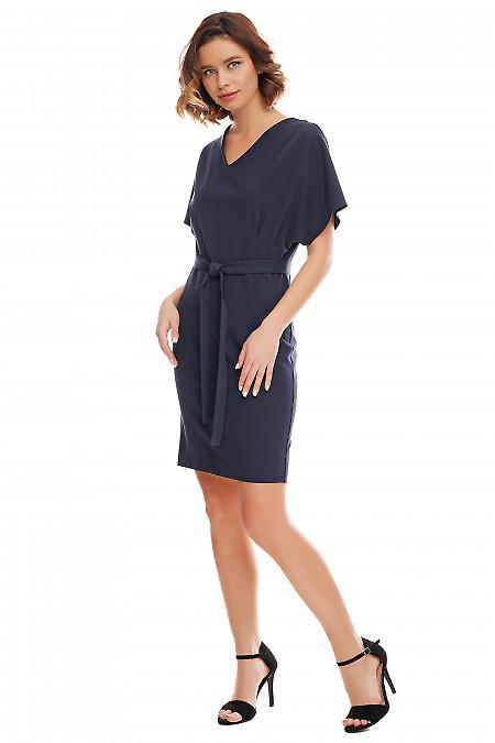 Платье синее с двумя защипами по бокам Деловая женская одежда фото