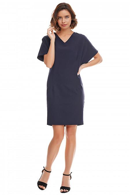 Элегантное приталенное платье синего цвета