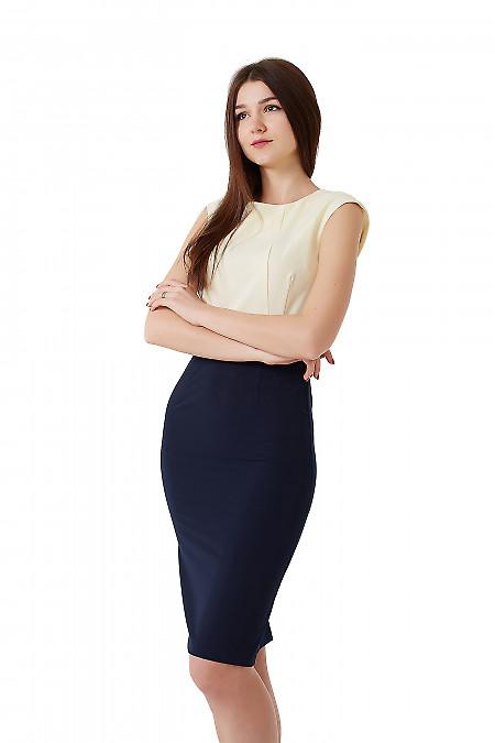 Платье синее с желтым верхом.. Деловая женская одежда фото