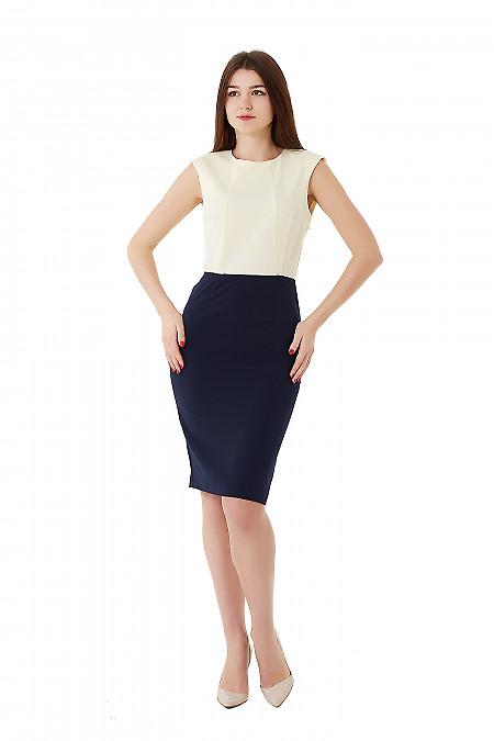 Купить платье синее с желтым верхом. Деловая женская одежда фото