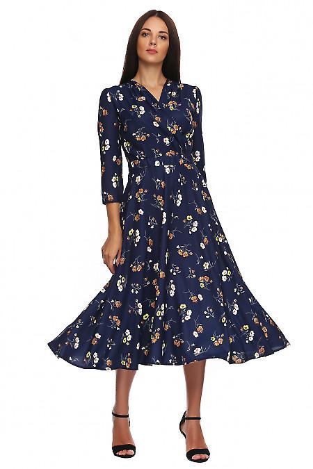 Платье синее в коричневый цветок. Деловая женская одежда фото