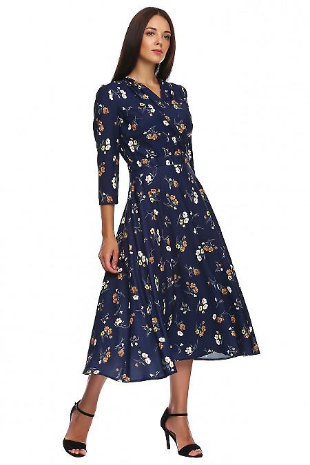 Купить платье синее в коричневый цветок. Деловая женская одежда фото