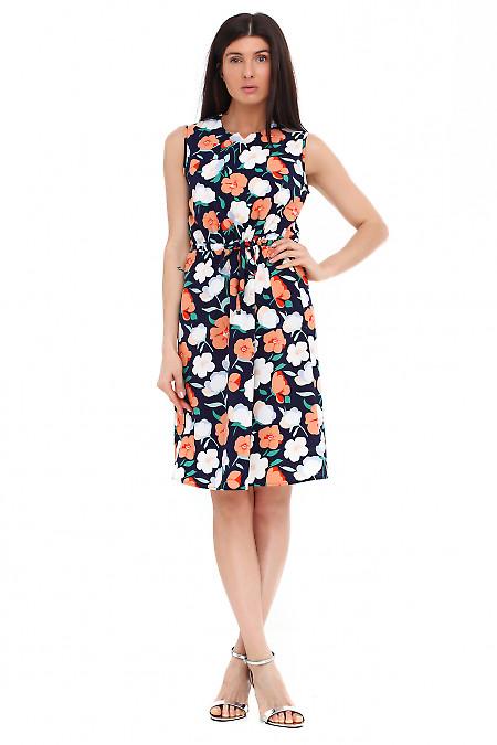 Платье синее в крупный оранжевый цветок. Деловая женская одежда