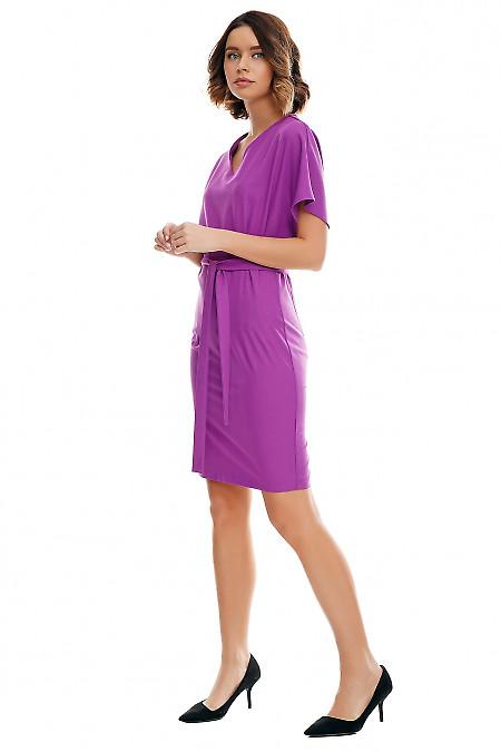 Сиреневое платье из костюмной ткани