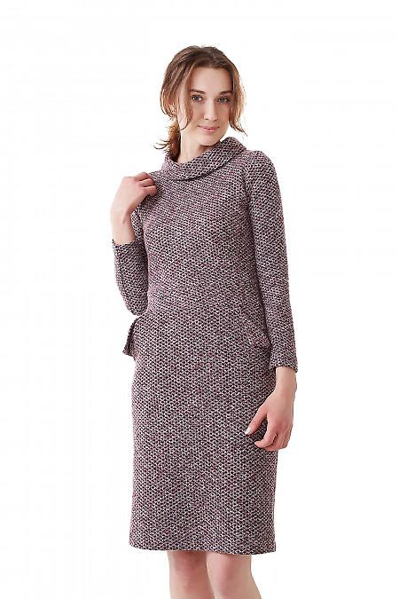 Платье сиреневое с карманами и воротом Деловая женская одежда