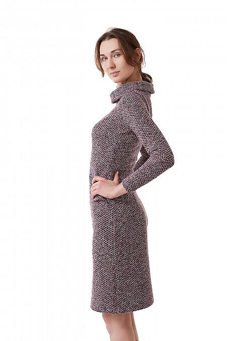 Приталенное сиреневое трикотажное платье