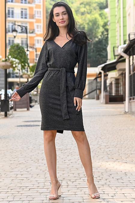 Платье трикотажное в елочку. Деловая женская одежда