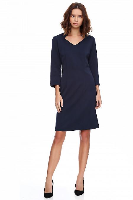 Платье тёплое синее со стойкой. Деловая женская одежда фото