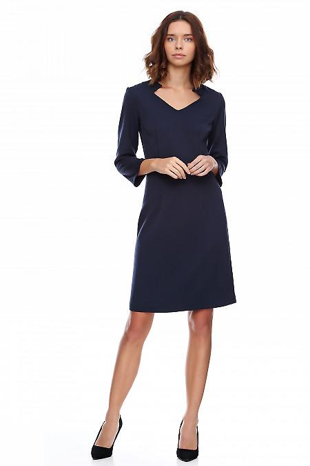 Купить платье тёплое синее со стойкой. Деловая женская одежда фото