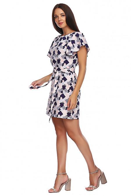 Купить платье в бежевые ромбы с крылышком. Деловая женская одежда фото