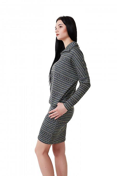 Купить платье в черный орнамент со стойкой Деловая женская одежда фото