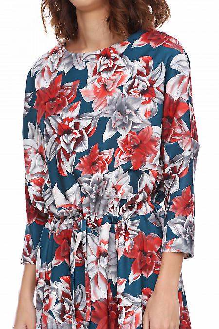 Купить платье в пол зеленое в коралловые лилии. Деловая женская одежда фото