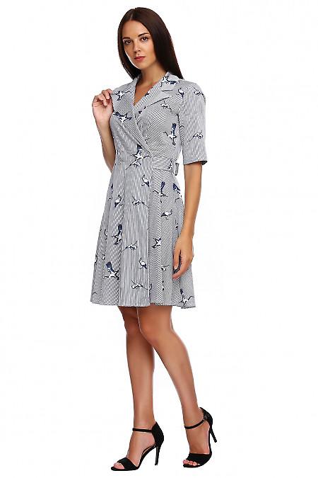 Купить платье в полоску на запах. Деловая женская одежда фото