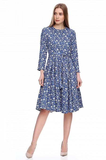 Купить платье в складку из синего джинса. Деловая женская одежда фото