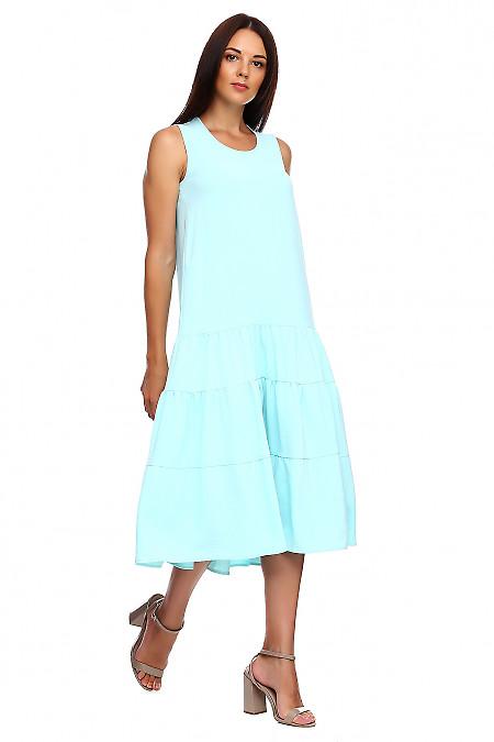 Купить сарафан голубой с воланами. Деловая женская одежда фото