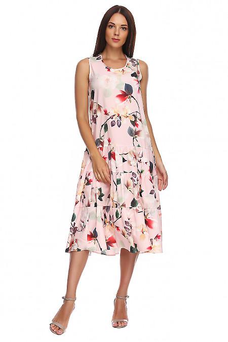 Сарафан розовый в цветы с воланом. Деловая женская одежда фото