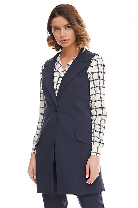 Купить синюю длинную жилетку на пуговицах Деловая женская одежда фото