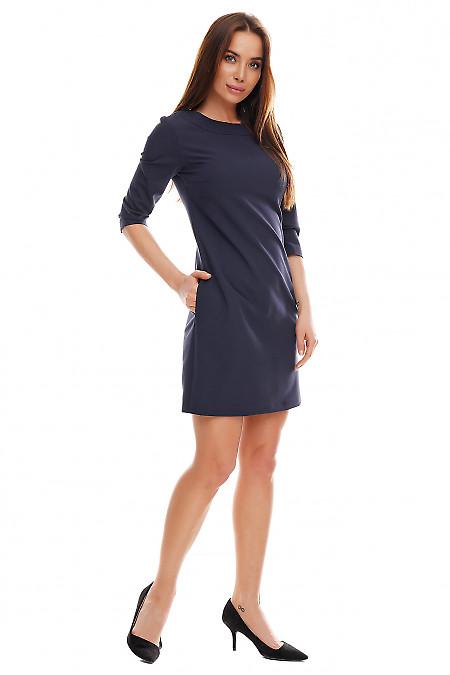 Строгое синее платье с круглым воротником. Деловая женская одежда