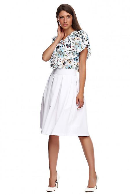 Белая пышная юбка из костюмной ткани
