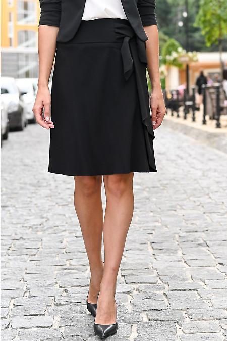 Юбка чёрная с оборкой и бантом. Деловая женская одежда