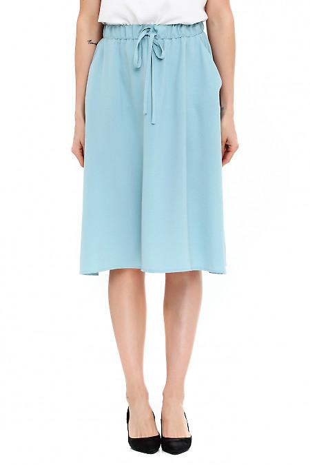 Юбка голубая летняя на резинке. Деловая женская одежда