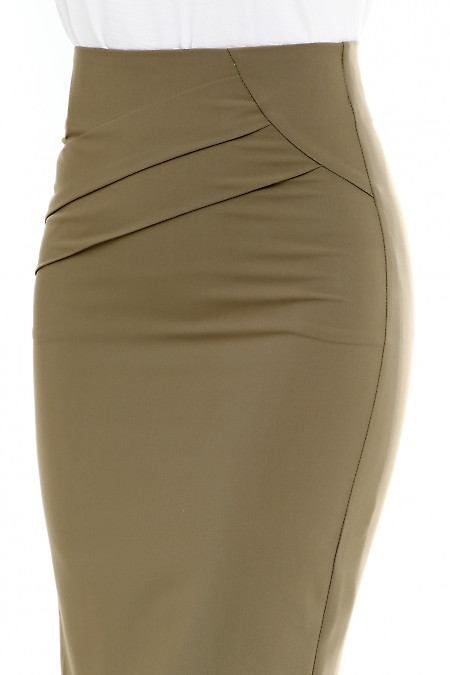 Деловая юбка оливкового цвета